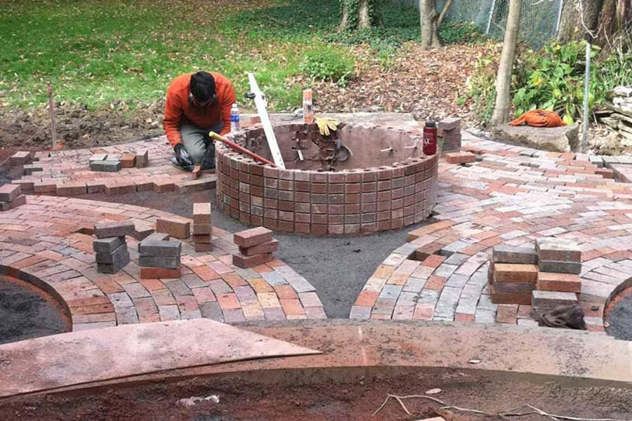 Brick paver fire pit designs 2 wall decal for Best fire pit design
