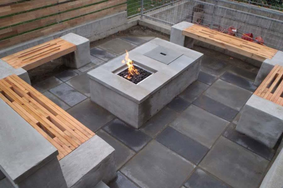 concrete block fire pit diy patio cheap