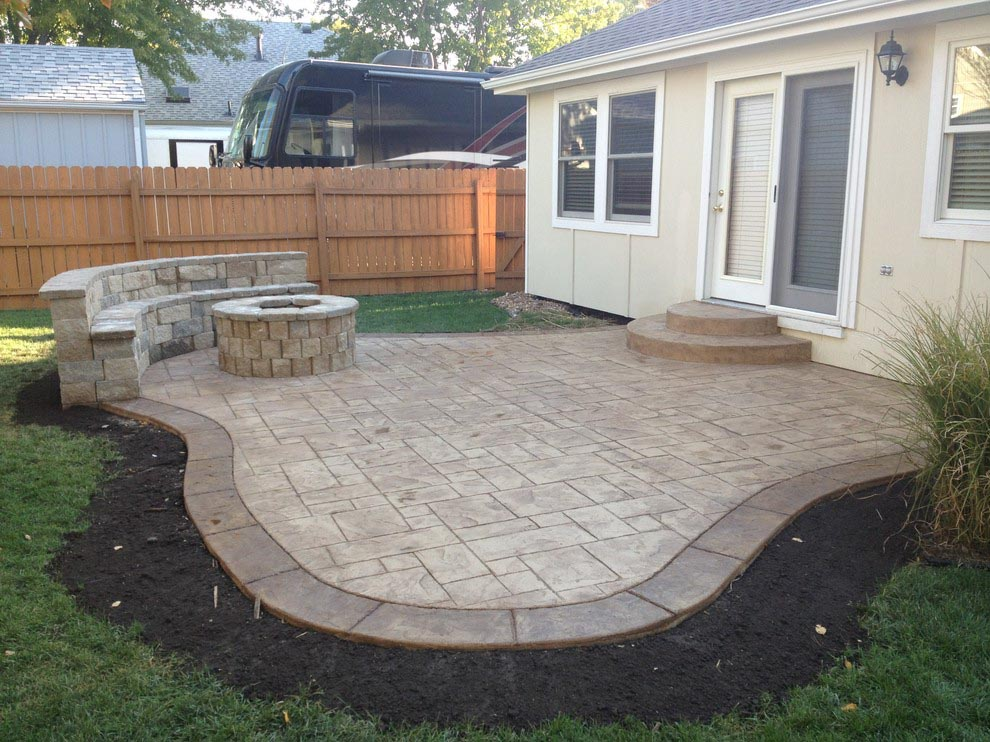 Concrete Patio with Fire Pit