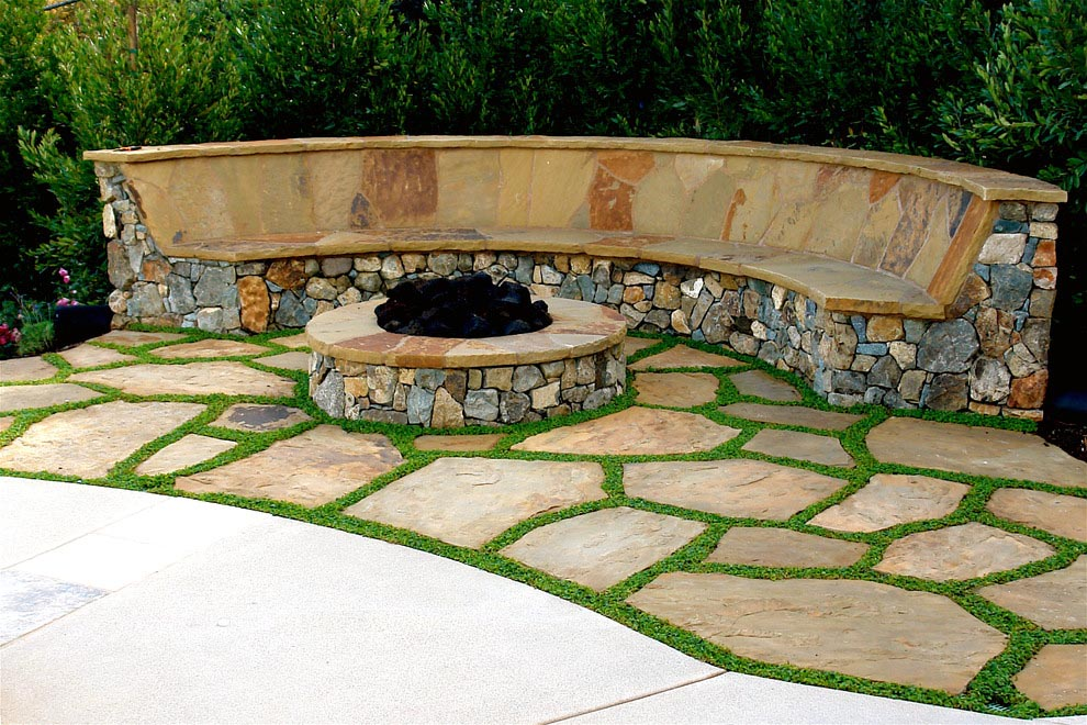 Curved Fire Pit Bench with Back