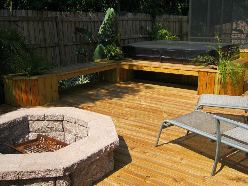Propane fire pit on wood deck -  Deck With Fire Pit Ideas