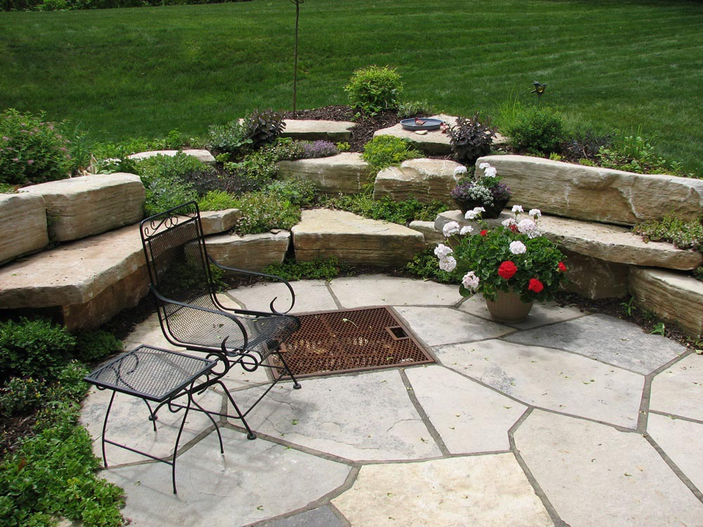 Flagstone fire pit area fire pit design ideas for Gravel fire pit area