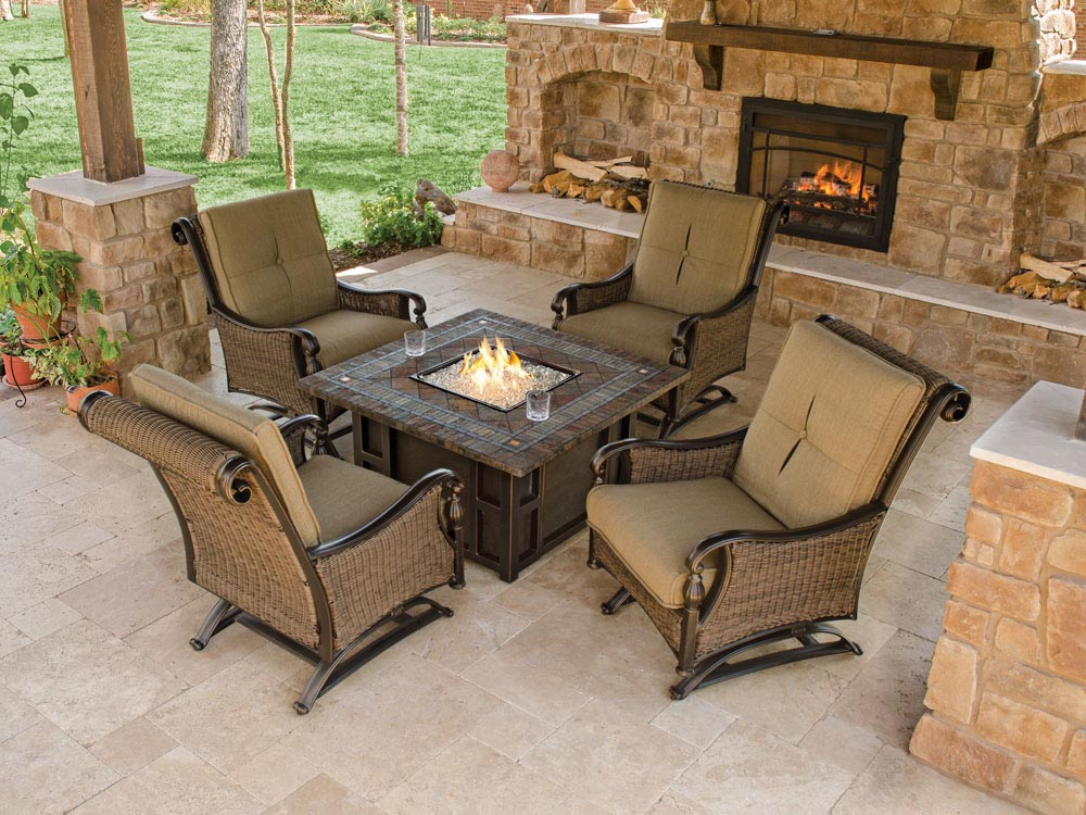 Outdoor Furniture With Fire Pit Table Design Ideas