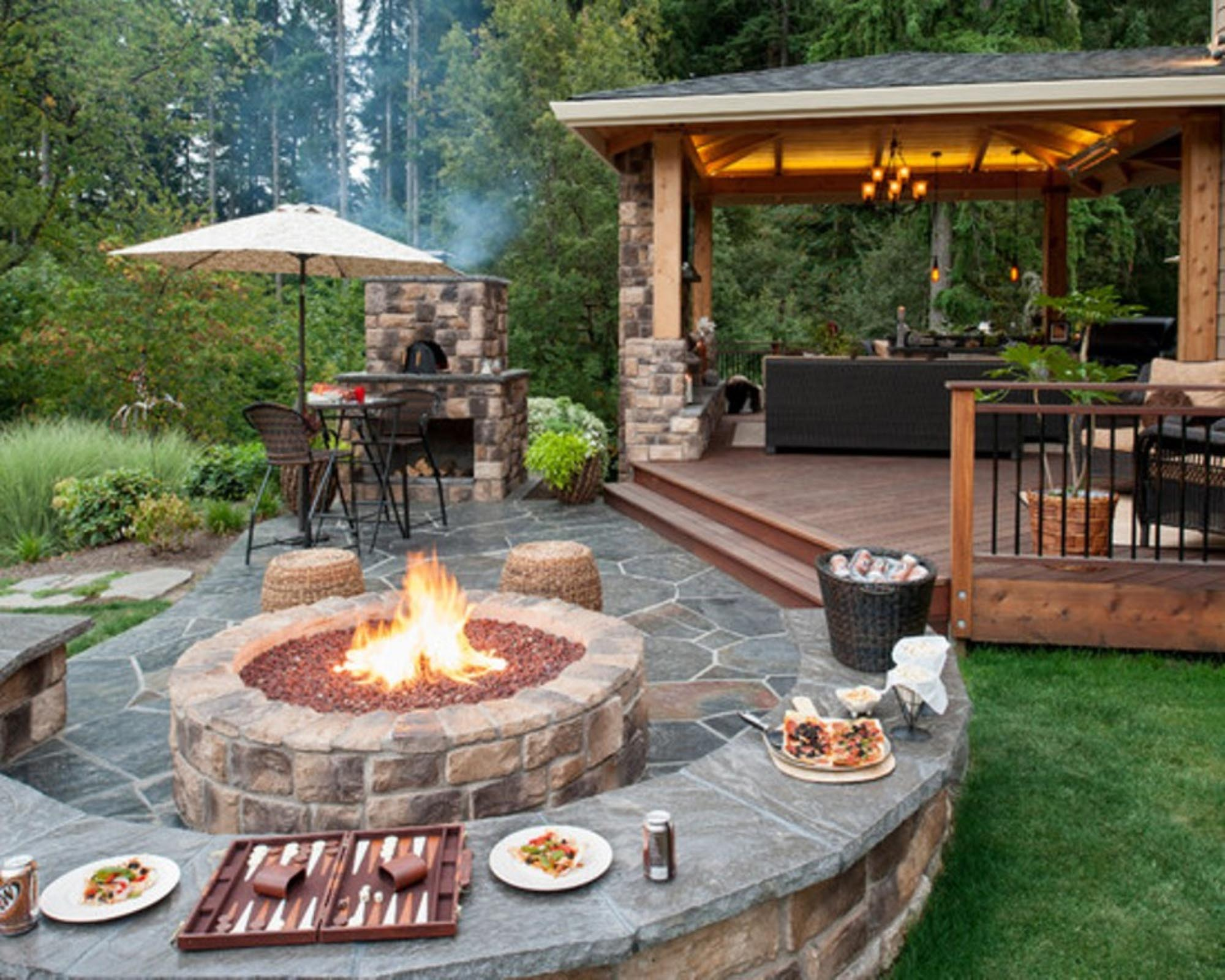 Fire Pit Design Ideas Hgtv Paver Patio With Stone Firepit In