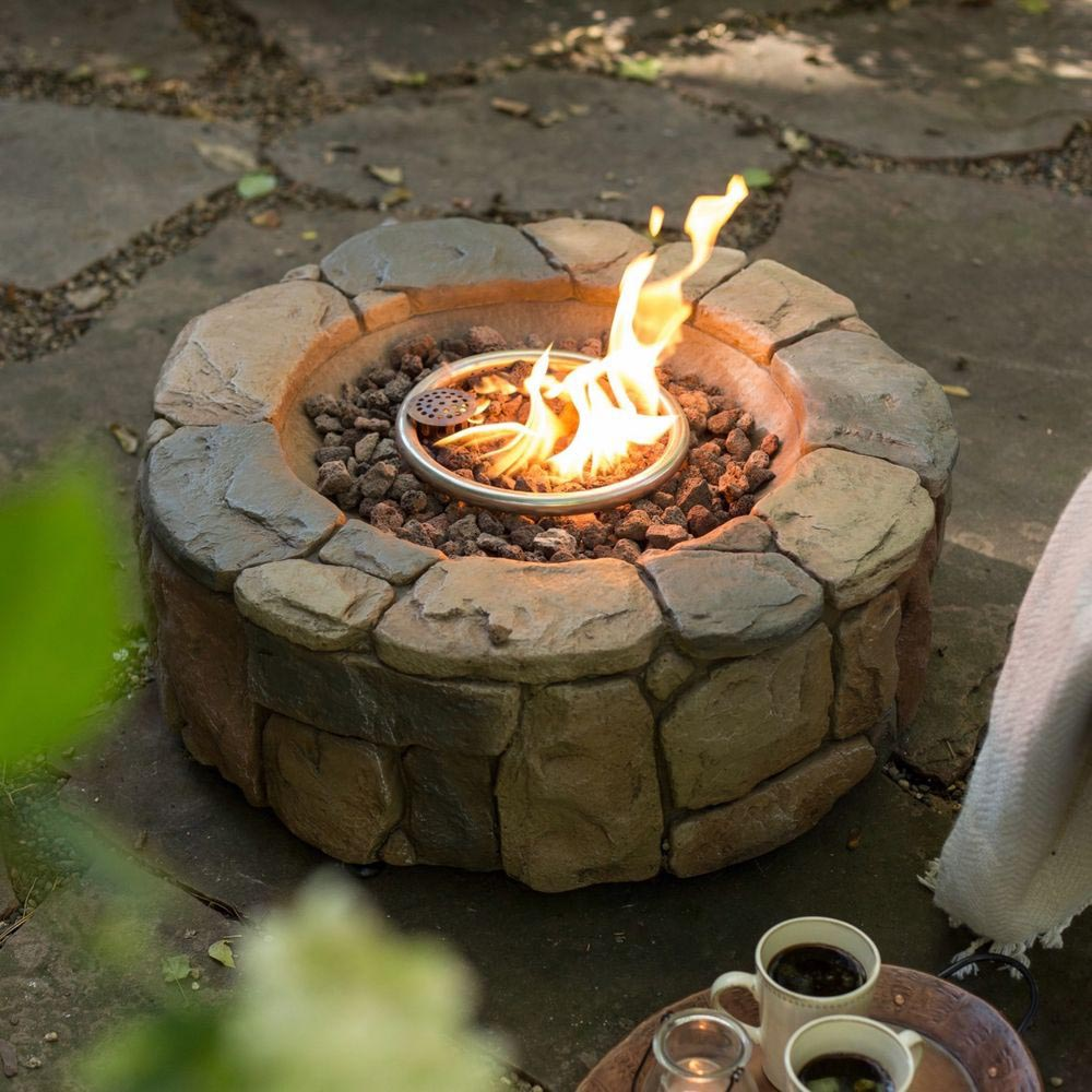 propane pit with glass rocks pit design ideas