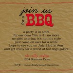 BBQ Birthday Party Invitation Wording