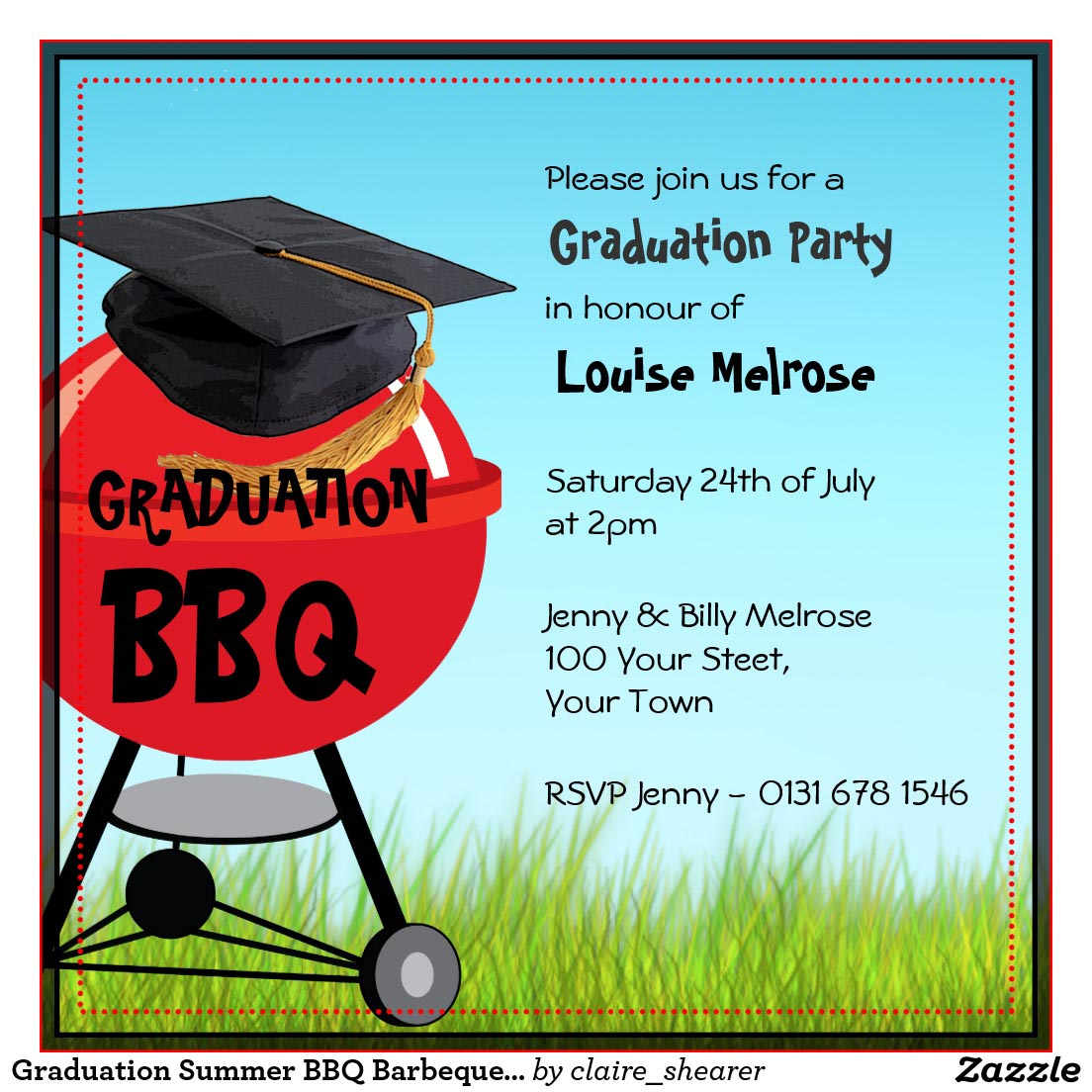 BBQ Graduation Party Invitations