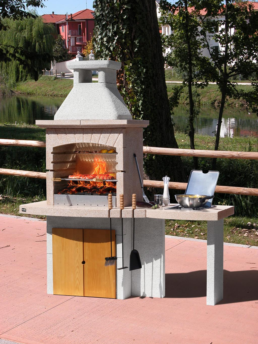 Bbq Side Table With Storage Fire Pit Design Ideas