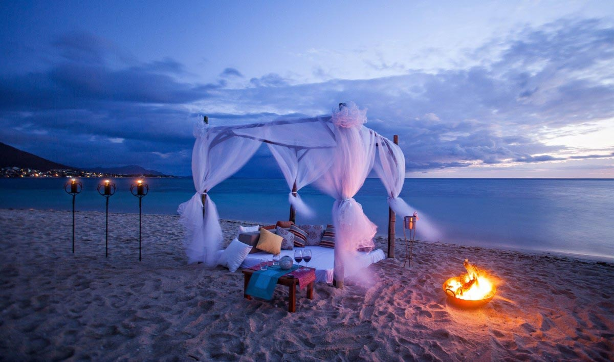 Beach with Fire Pits