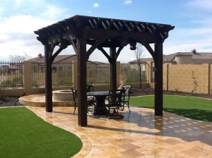 Gazebo with Fire Pit and Swings