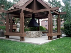 Gazebo with Swings and Fire Pit