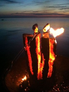 Lighting a Swedish Fire Log