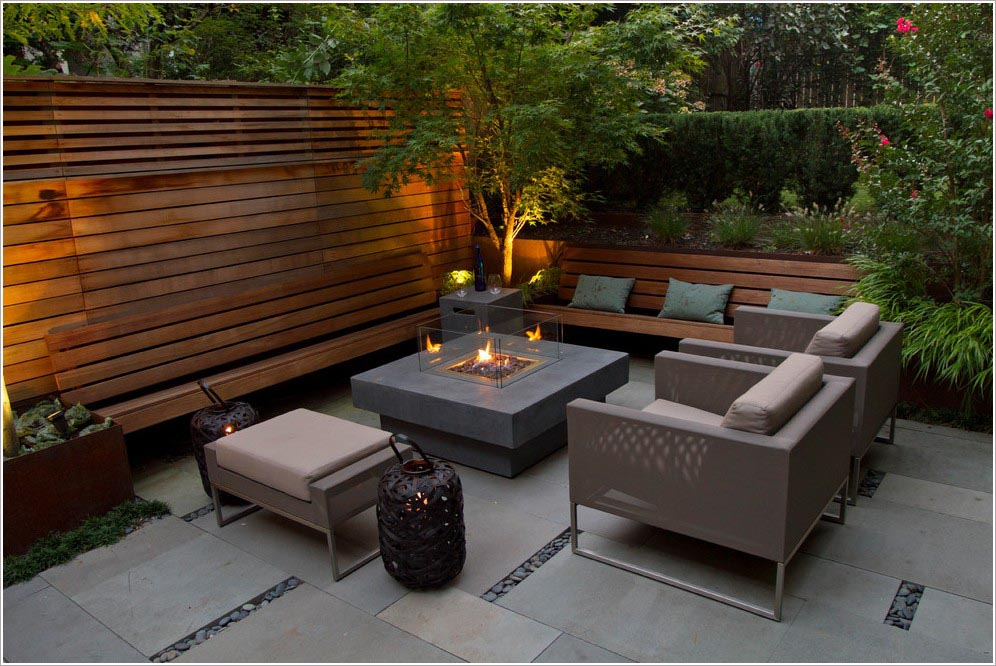 Modern outdoor fire pits fire pit design ideas for Garden sit out designs