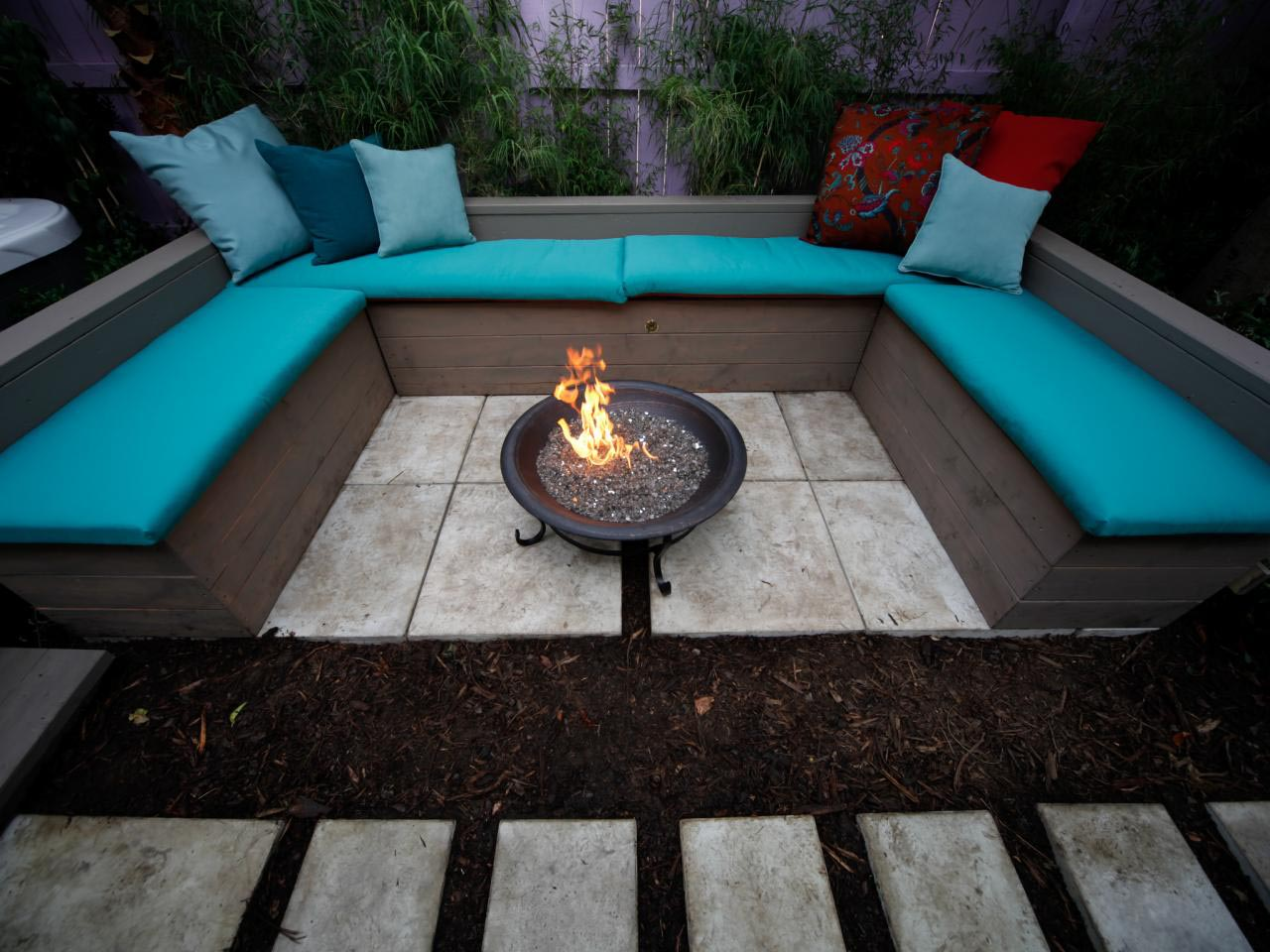 stone fire pit deck and patio furniture. contemporary backyard patio ...
