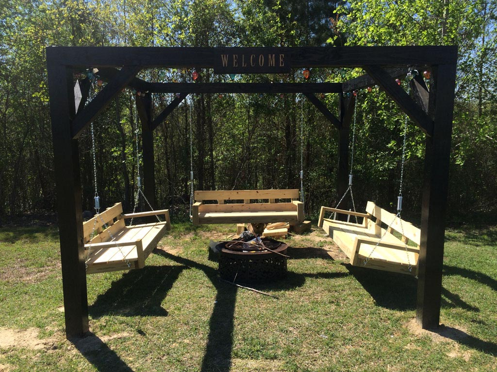 Swinging bench fire pit project fire pit design ideas Fire pit benches