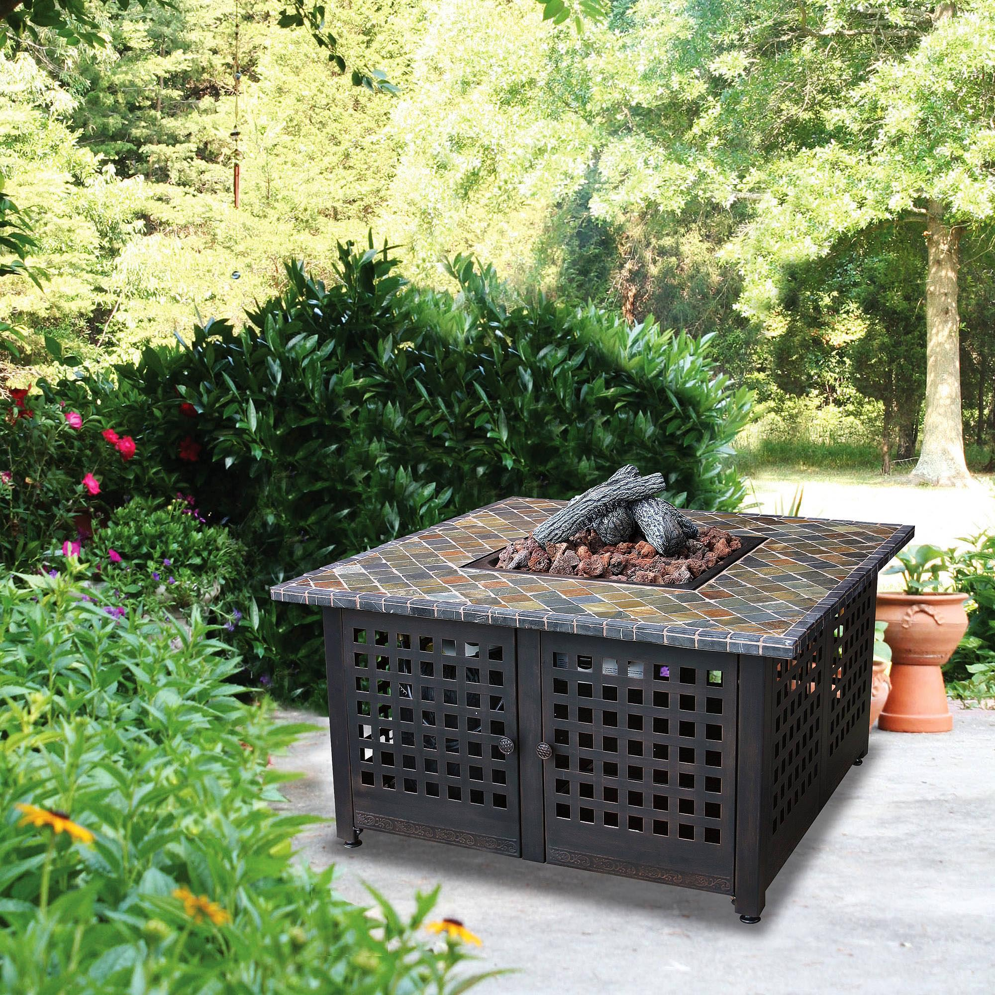Uniflame Ceramic Tile Hexagon Propane Gas Fire Pit